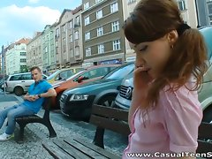 Brunette teen cutie with a ponytail enjoys a good poundingvideo
