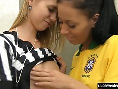 Brazilian football players gets on the goodside of the refereevideo