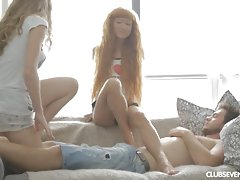 Two beautiful teens are sexually pleased by one cockvideo