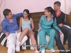 Teen foursome with dick sucking and fuckingvideo