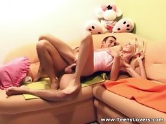 Super skinny young blonde gets fucked on a sectional couchvideo