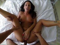Flawless brunette pleasing her mans big cockvideo