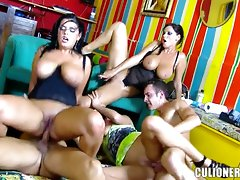 Big tits babes go wild in a hot group fuckvideo